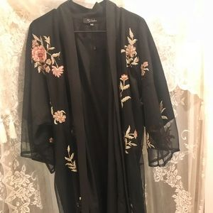 BEAUTIFUL embroidered vintage black sheer kimono